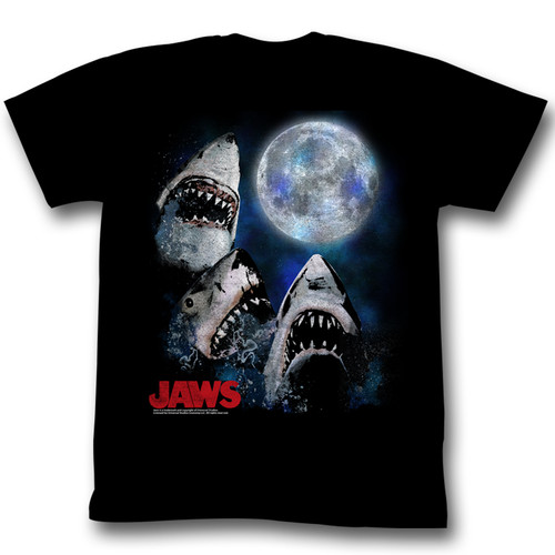 Jaws Three Shark Moon Mens Tee Shirt