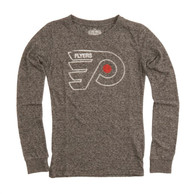 NHL Philadelphia Flyers Charged Vintage Style Ladies Long Sleeve Crew Neck Shirt