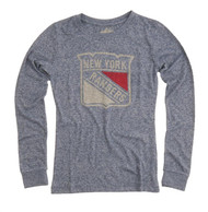 NHL New York Rangers Charged Vintage Style Ladies Long Sleeve Crew Neck Shirt