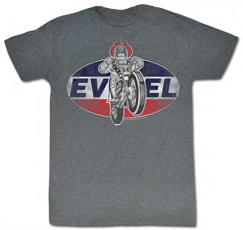 Evel Knievel Logo Mens Tee Shirt in Charcoal