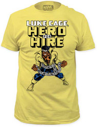 MARVEL TEES LUKE CAGE HERO FOR HIRE MENS FITTED JERSEY TEE