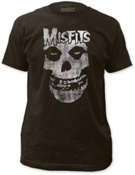 THE MISFITS DISTRESSED SKULL FITTED JERSEY TEE