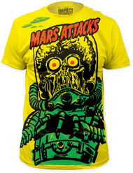 MARS ATTACKS BIG YELLOW MARTIAN BIG PRINT SUBWAY TEE