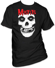THE MISFITS RED LOGO MISFITS SKULL MENS TEE