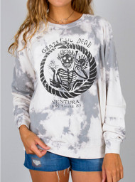 Womens Junk Food Grateful Dead Tie Dye Fleece Sweatshirt
