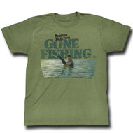 Chuck Norris Gone Fishing Mens Tee Shirt