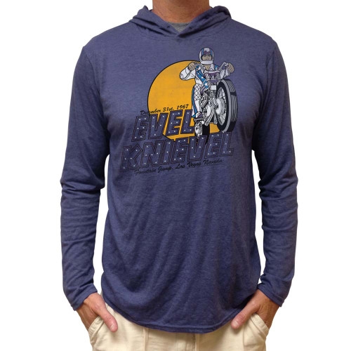 Evel Knievel Adult Long Sleeve Hooded Shirt