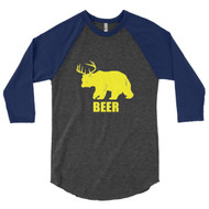 Bear Plus Deer Equals Beer 3/4 Sleeve Raglan Shirt