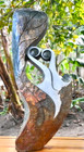 Shona Sculpture - 'Leaf Lovers' by Fungai Ranjisi