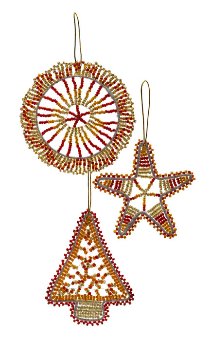beaded christmas decorations from zululand south africa red gold