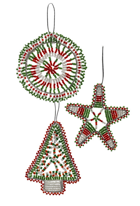 Christmas Decorations.Beaded Christmas Decorations