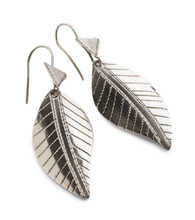 Tuareg Silver Leaf Earrings from Niger, West Africa