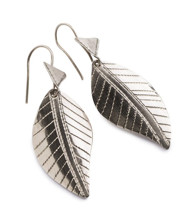 961c15190 Tuareg Silver Leaf Earrings - African Artisans Gallery