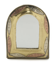 Small Arched Moroccan Mirror - Handcrafted from Copper & Brass