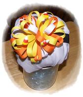 Candy Corn Bow Puff