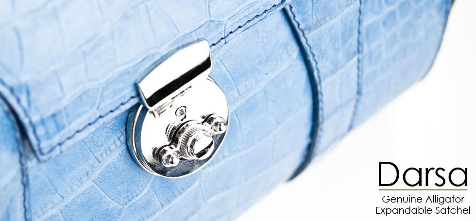 Darsa - Genuine Alligator Belly Expandable Handbag in Light Blue
