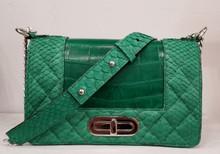 Emerald green crocodile and green python mini bag