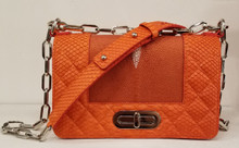 Orange stingray and orange python mini bag