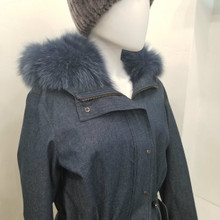 Blue dyed fox lined Jacket