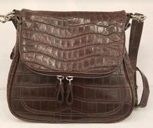 Brown matte crocodile zippered saddle bag