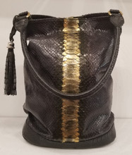 Black metallic Python and black American alligator bucket bag