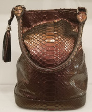 Burgundy metallic Python Alligator bucket bag