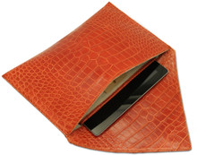Kennedy - Alligator Oversized Envelope Clutch with Cushioned iPad Compartment - Orange