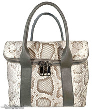Fold Over Zippered Tote - Unbleached  Python trimmed in Grey Ostrich