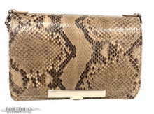 Convertible Chain Bag -  Python - Unbleached Taupe  Glazed