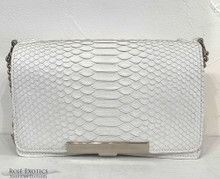 Convertible Chain Bag -  Python - White - Matte