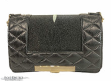 Convertible Chain Bag - Stingray Center  - Ostrich Quilting - Black