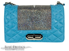 Convertible Chain Bag - Stingray Center  - Ostrich Quilting -Convertible Chain Bag - Turquoise & Silver