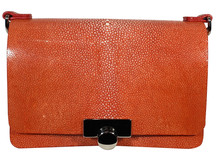 Convertible Chain Bag - Shagreen Stingray - Burnt Orange
