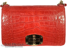 Convertible Chain Bag -  American Alligator - Red Matte Waxy