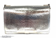 Convertible Chain Bag -  Python - Silver -  Metallic Foil