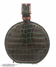 "Micro Hatbox - American Alligator - Emerald Green - Glazed "" Classic Finish"""