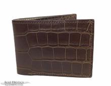 Men's Bifold Wallet - Full Salt Water Crocodile  - Chocolate Matte