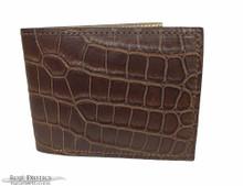 Men's Bifold Wallet - Salt Water Crocodile - LV Deconstruct Interior   - Chocolate Matte