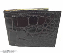 Men's Bifold Wallet - Full American Alligator  - Black Matte
