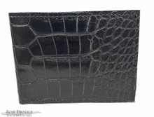 Men's Bifold Wallet -  American Alligator  - Python Interior - Black Matte Waxy