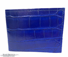 Bifold Wallet - Full American Alligator  - Royal Blue Millennium