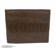 Men's Bifold Wallet -  Ostrich Leg - Caiman Interior - Cognac
