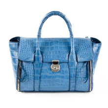 Darsa - Alligator Belly Expandable Handbag in Light Blue
