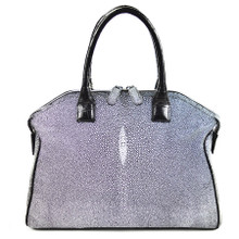 Italo - Stingray Bowling Bag in a Polished gray Finish and Alligator Handles