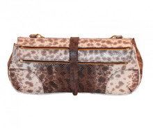 Rebecca - Karung Snake Clutch - Natural Brown and Cream Finish