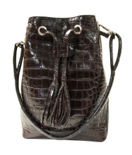Bucket/Drawstring - Dark Brown Alligator