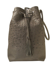 Bucket/Drawstring - Grey Ostrich