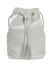 Bucket/Drawstring - White Ostrich