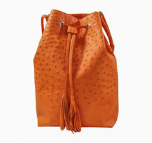 Bucket/Drawstring - Orange Ostrich