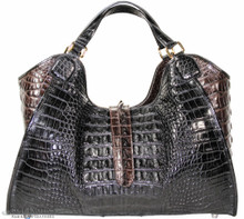 Colette - Black & Dark Brown Alligator Hornback